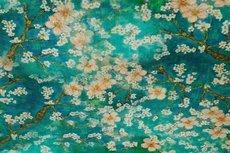 Linnen Viscose Digital Flower Petrol/Mint