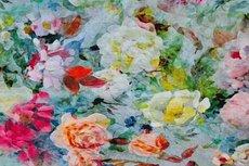 Linnen Viscose Digital Roses