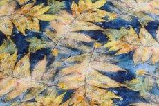 Linnen Viscose Digital Leaf Blue