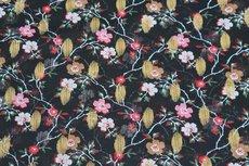 Chiffon Goldfoil Flowers Black