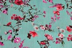 Viscose Stripes&Flowers Apple Green