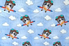 Cotton Jersey Koala Airplane Light Blue jeanslook
