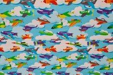 Cotton Jersey Little Planes Aqua