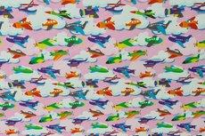 Cotton Jersey Little Planes Light Pink