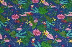 Cotton Jersey Flamingo&Toekan Blue