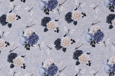 Cotton Jersey Rose/Flowers Grey