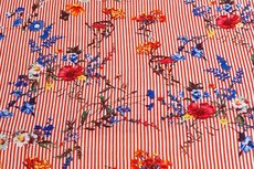 Viscose Stripes&Flowers Orange/Red