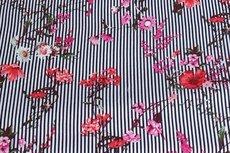 Viscose Stripes&Flowers Navy