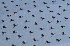 Viscose Stretch woven Birds Light Blue