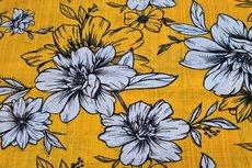 Cotton Viscose Flowers Yellow