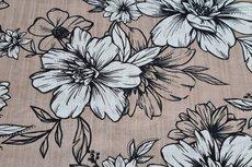 Cotton Viscose Flowers Beige