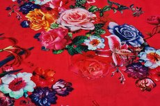 Viscose Flowers Red 1