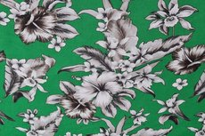 Viscose Stretch Flowers Apple Green