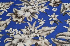Viscose Stretch Flowers Kobalt Blue