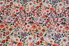 Cotton Jersey Digital Fleurs Ecru