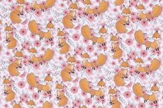 Cotton Jersey Little Fox Peach R