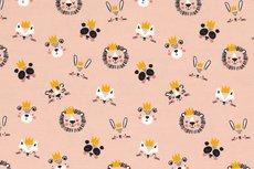 Cotton Jersey King Animals Peach R