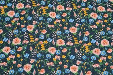 GOTS Cotton Jersey Digital Flowers Navy 1