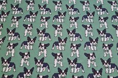 Cotton Jersey Dogs Old Green