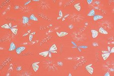 Cotton Jersey Butterfly & Feathers Orange/Coral