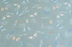 Cotton Jersey Butterfly & Feathers Mint