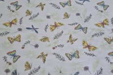 Cotton Jersey Butterfly & Feathers White