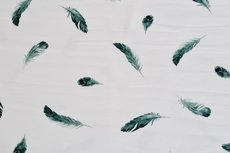 Cotton Jersey Feathers White/Green