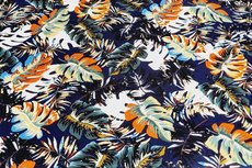 Viscose Jersey Tropical Flowers Navy