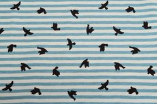 Cotton Jersey Stripes & Birds Turquoise