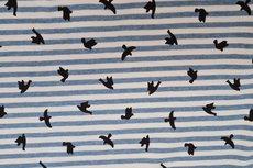 Cotton Jersey Stripes & Birds Jeans Blue