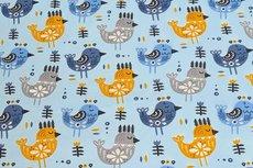 Cotton Jersey Birds Light Blue