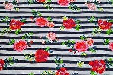 Cotton Jersey Stripes & Flowers Navy