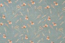 Cotton Jersey Digital Twigs & Butterfly Old Green 2