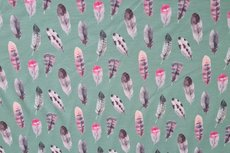 Cotton Jersey Digital Feathers Old Green
