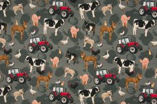 Cotton Jersey Digital Farm Animals Grey