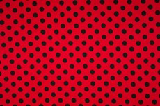 Cotton Jersey Dots Red/Black