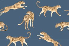 Cotton Jersey Leopard Old Blue