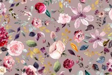 GOTS Cotton Jersey Digital Painted Flowers Old Pink