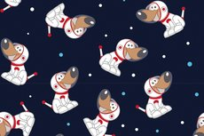 Cotton Jersey Space Dogs Navy