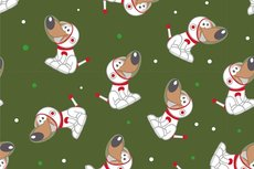 Cotton Jersey Space Dogs Green