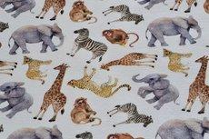 Cotton Jersey Digital Safari Animals Off White