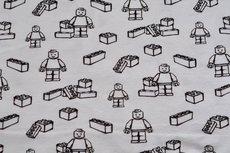 Cotton Jersey Digital Play Blocks Off White
