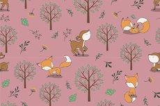 Cotton Jersey Little Fox & Bambi Stone Red