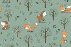 Cotton Jersey Little Fox & Bambi Old Green