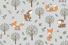Cotton Jersey Little Fox & Bambi Light Grey