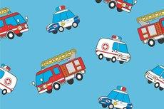 Cotton Jersey Emergency Cars Light Blue