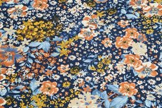 Cotton Jersey Flowers Navy