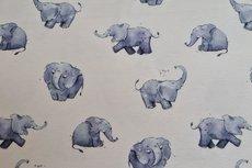 Cotton Jersey Digital Elephant Off White