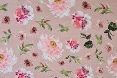 Cotton Jersey Digital Flowers Old Mauve