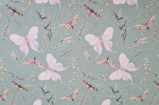 Cotton Jersey Digital Twigs & Butterfly Old Green